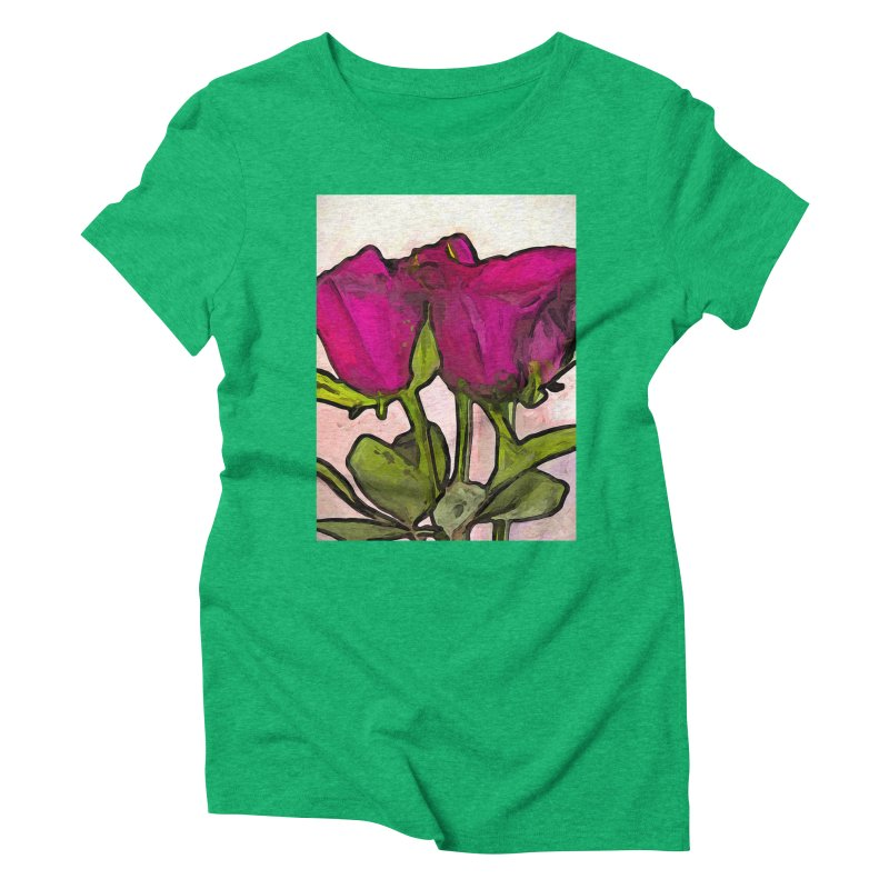 The Roses with the Green Stems and Leaves Women's Triblend T-Shirt by jackievano's Artist Shop