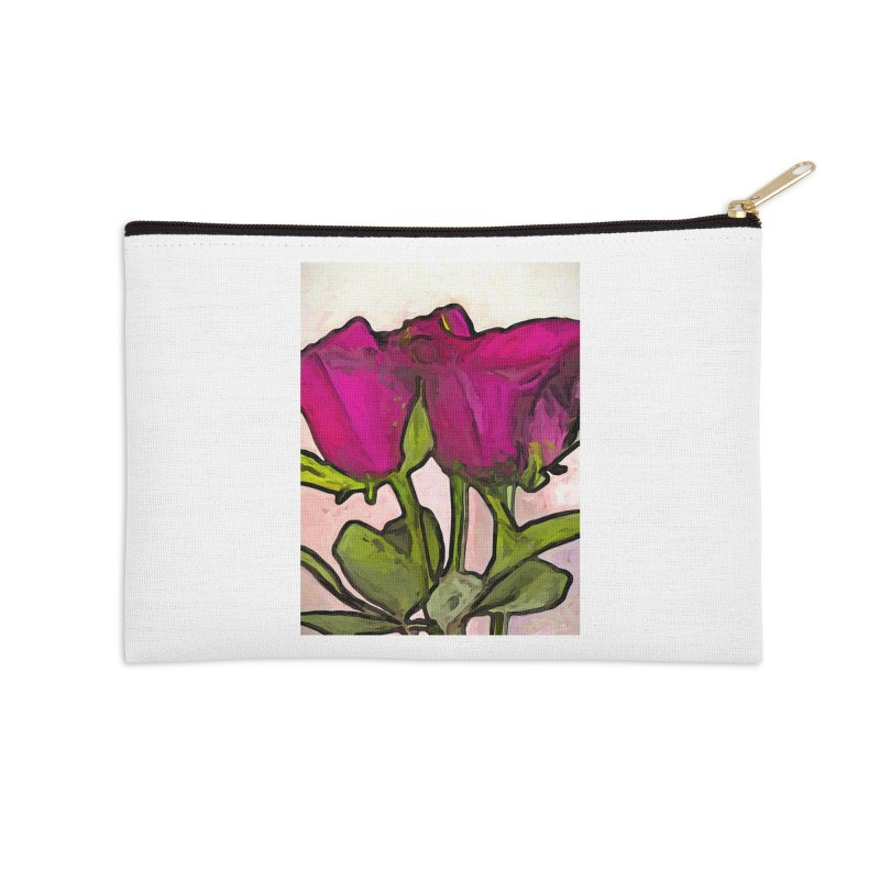 The Roses with the Green Stems and Leaves Accessories Zip Pouch by jackievano's Artist Shop