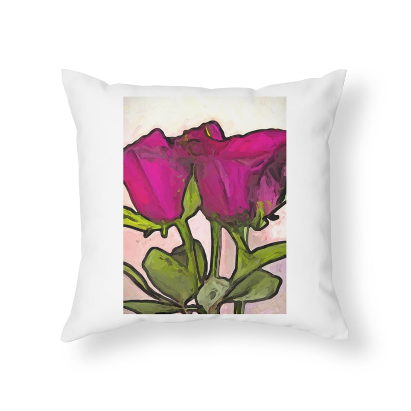 The Roses with the Green Stems and Leaves Home Throw Pillow by jackievano's Artist Shop