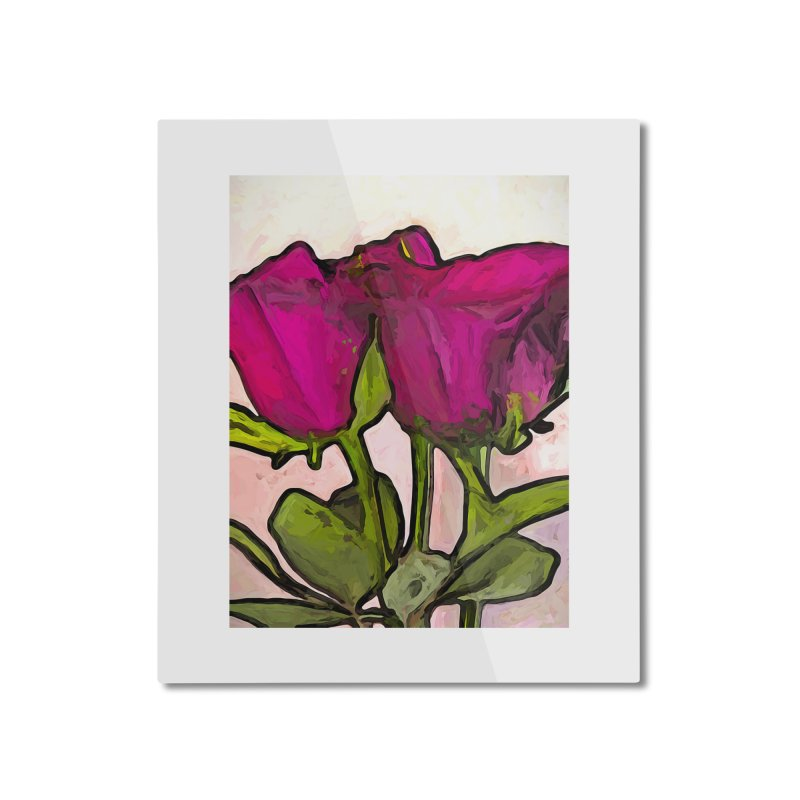 The Roses with the Green Stems and Leaves Home Mounted Aluminum Print by jackievano's Artist Shop