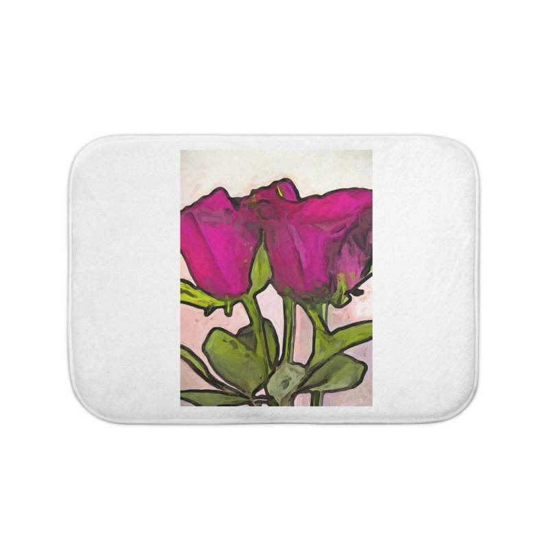 The Roses with the Green Stems and Leaves Home Bath Mat by jackievano's Artist Shop
