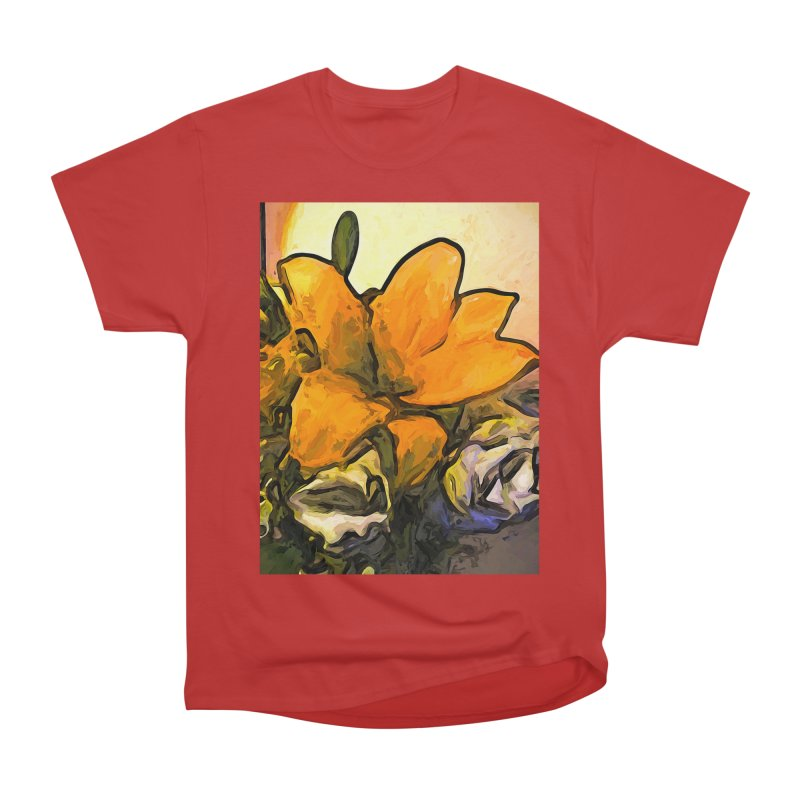 The Big Gold Flower and the White Roses Women's Classic Unisex T-Shirt by jackievano's Artist Shop