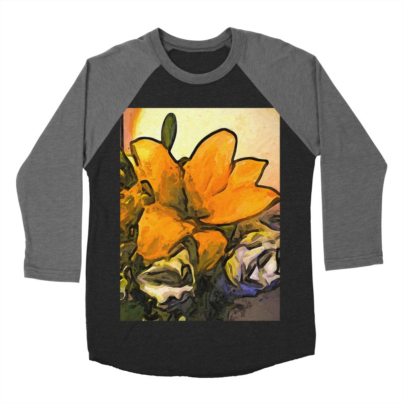 The Big Gold Flower and the White Roses Women's Baseball Triblend T-Shirt by jackievano's Artist Shop