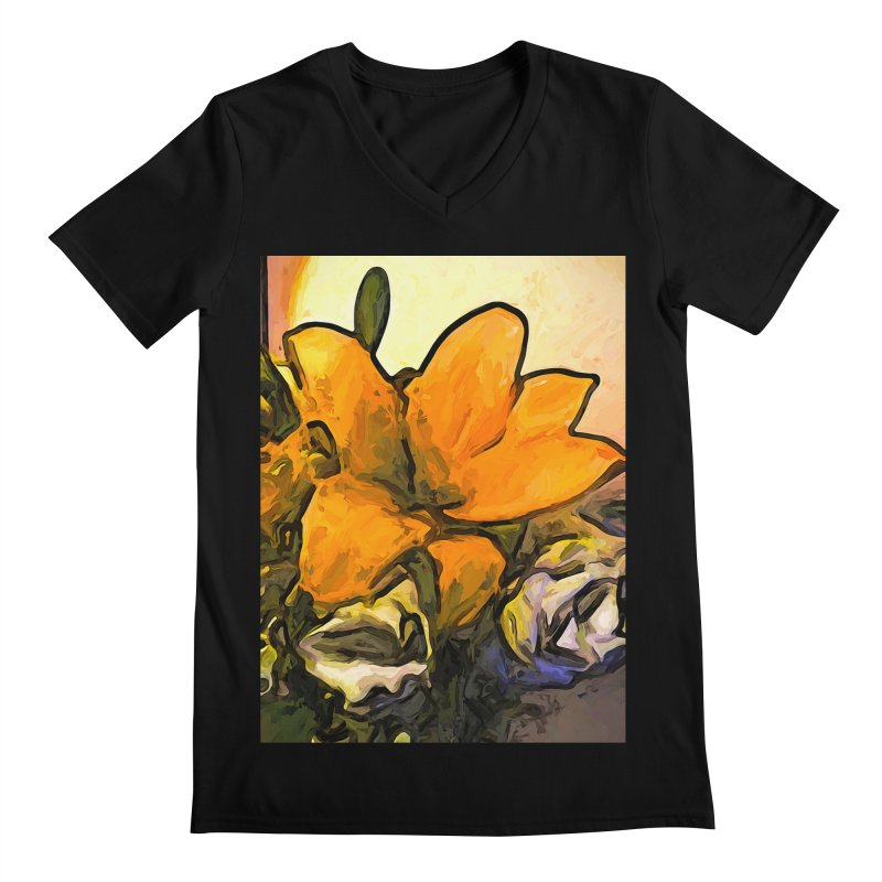 The Big Gold Flower and the White Roses Men's V-Neck by jackievano's Artist Shop