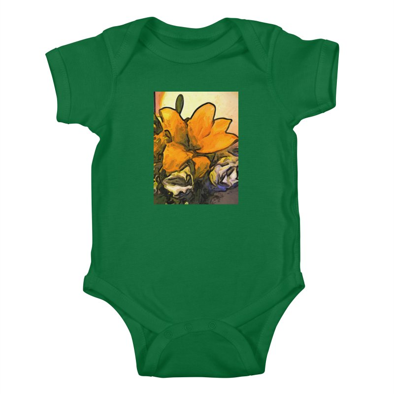 The Big Gold Flower and the White Roses Kids Baby Bodysuit by jackievano's Artist Shop