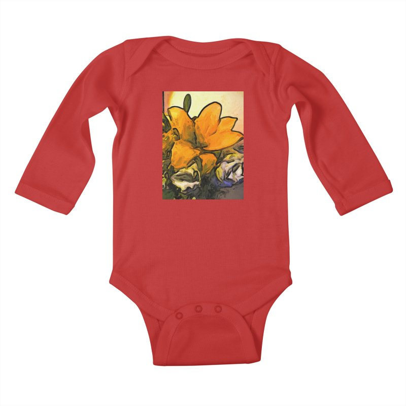 The Big Gold Flower and the White Roses Kids Baby Longsleeve Bodysuit by jackievano's Artist Shop