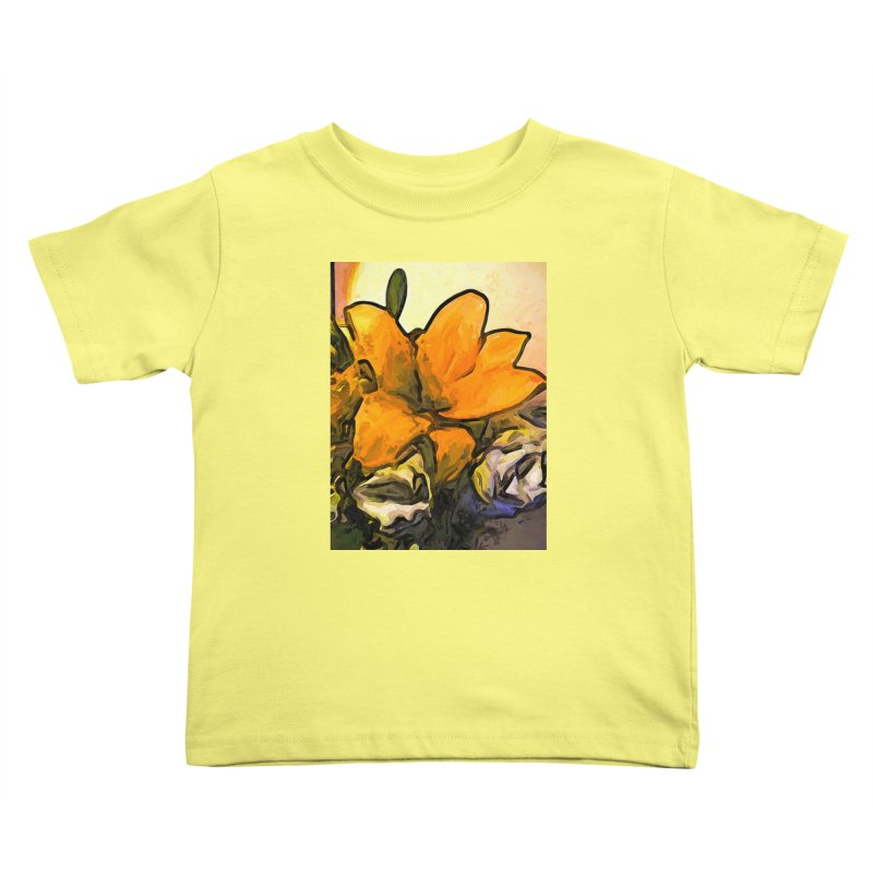 The Big Gold Flower and the White Roses Kids Toddler T-Shirt by jackievano's Artist Shop
