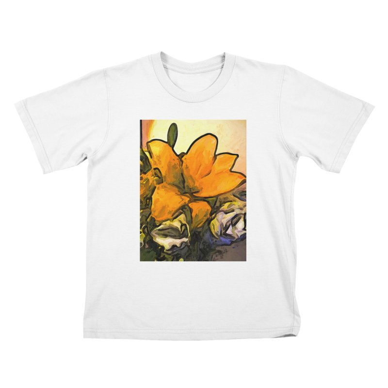 The Big Gold Flower and the White Roses Kids T-Shirt by jackievano's Artist Shop