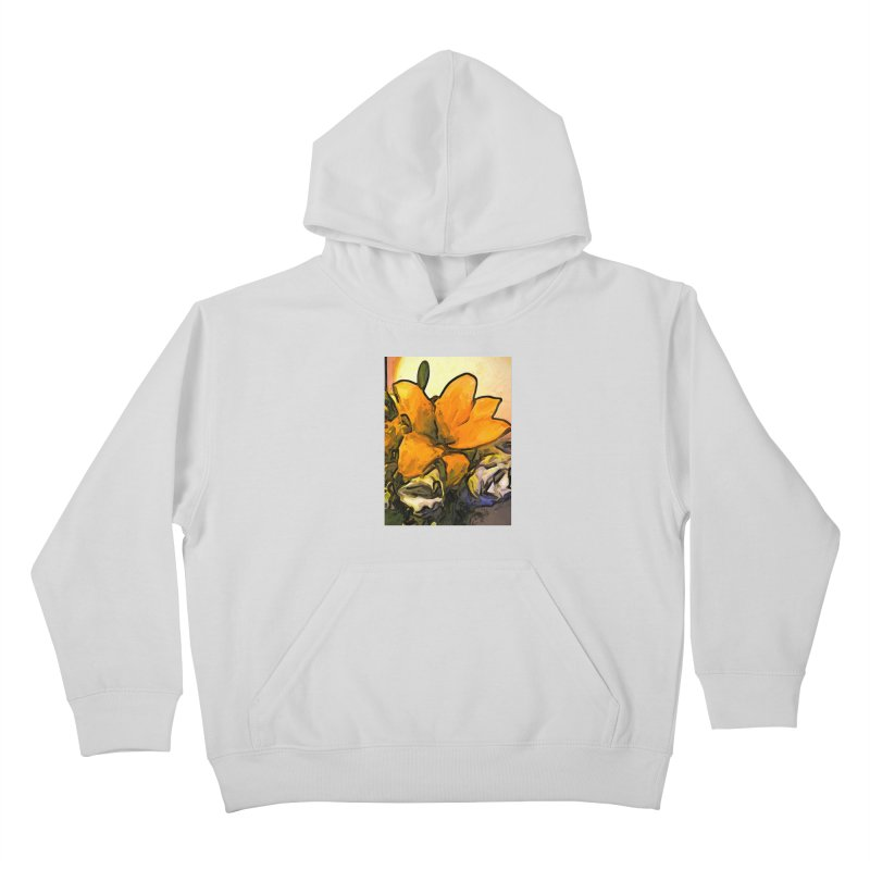 The Big Gold Flower and the White Roses Kids Pullover Hoody by jackievano's Artist Shop