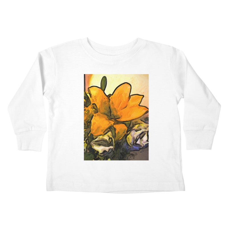 The Big Gold Flower and the White Roses Kids Toddler Longsleeve T-Shirt by jackievano's Artist Shop