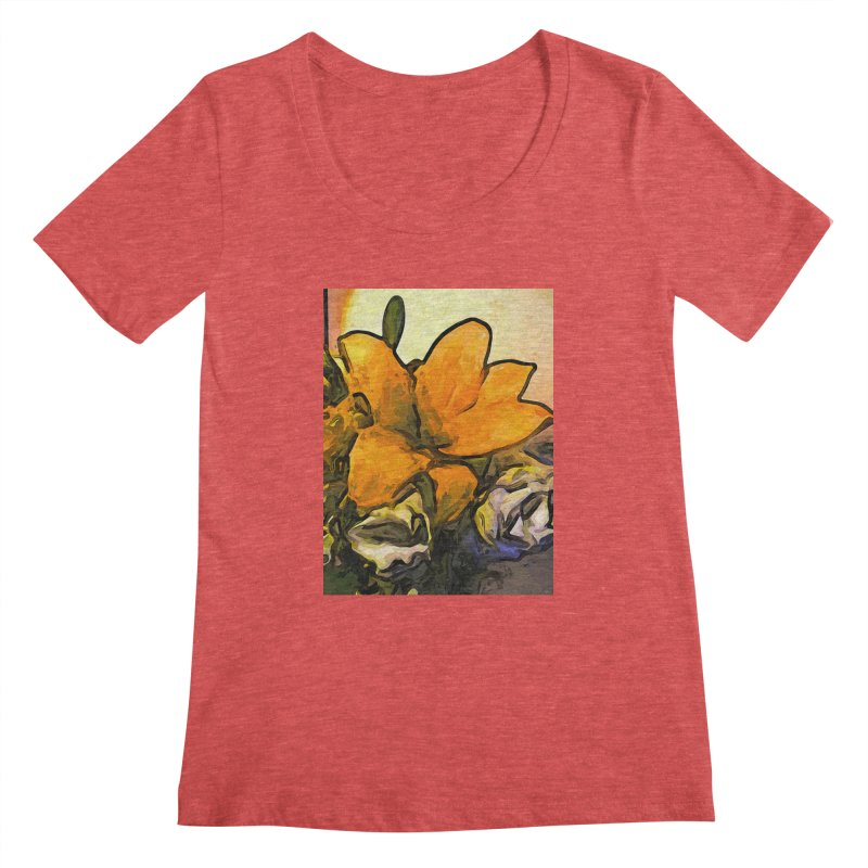 The Big Gold Flower and the White Roses Women's Scoopneck by jackievano's Artist Shop