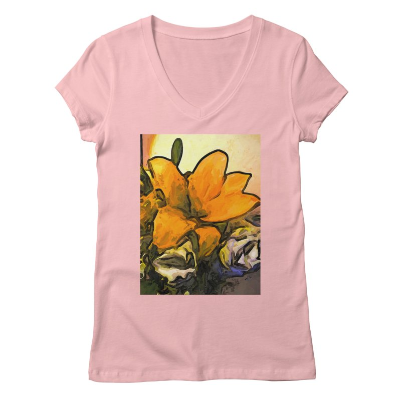 The Big Gold Flower and the White Roses Women's V-Neck by jackievano's Artist Shop