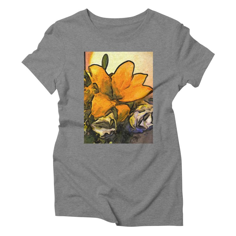The Big Gold Flower and the White Roses Women's Triblend T-Shirt by jackievano's Artist Shop