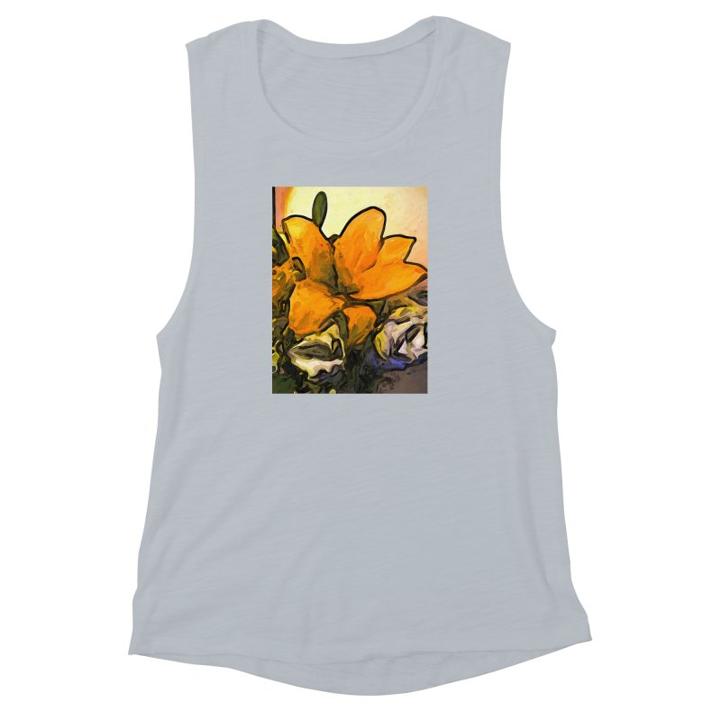 The Big Gold Flower and the White Roses Women's Muscle Tank by jackievano's Artist Shop