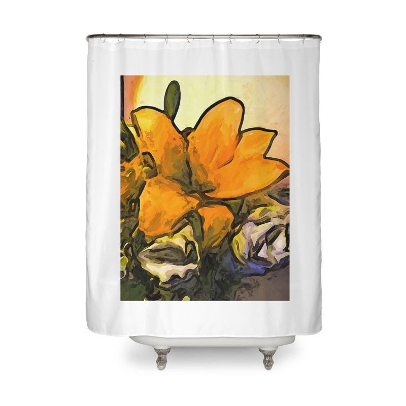 The Big Gold Flower and the White Roses Home Shower Curtain by jackievano's Artist Shop