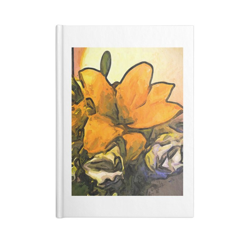 The Big Gold Flower and the White Roses Accessories Notebook by jackievano's Artist Shop