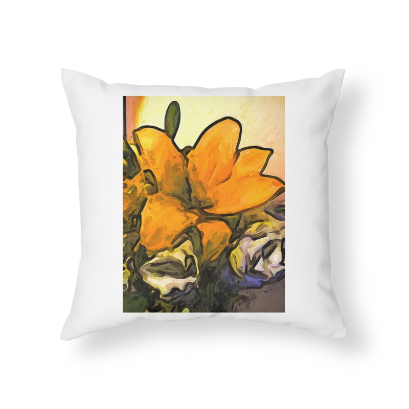 The Big Gold Flower and the White Roses Home Throw Pillow by jackievano's Artist Shop