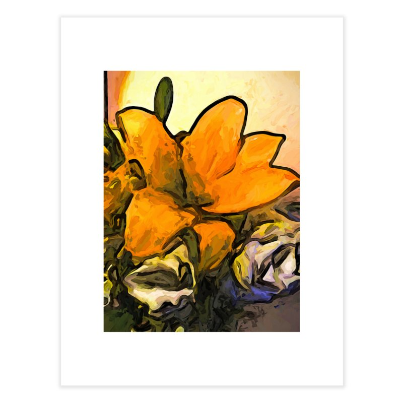 The Big Gold Flower and the White Roses Home Fine Art Print by jackievano's Artist Shop