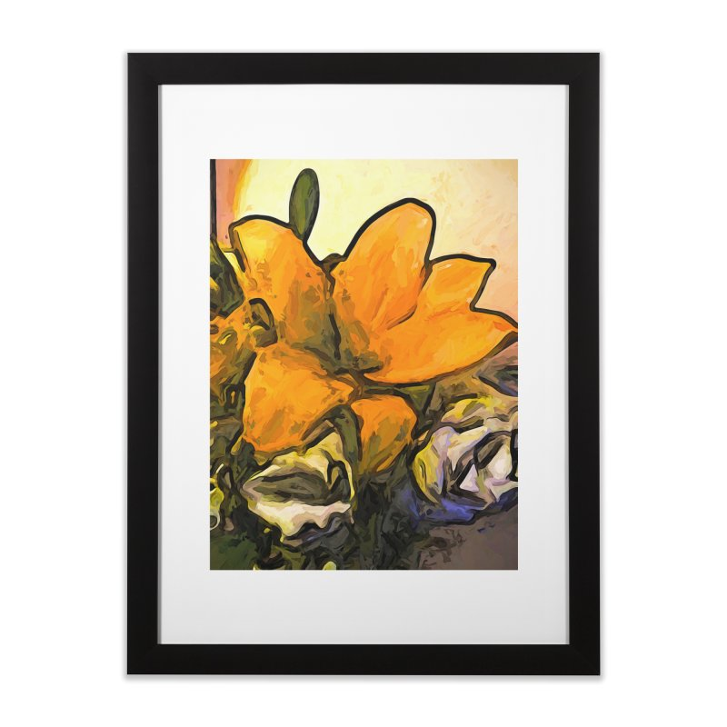 The Big Gold Flower and the White Roses Home Framed Fine Art Print by jackievano's Artist Shop