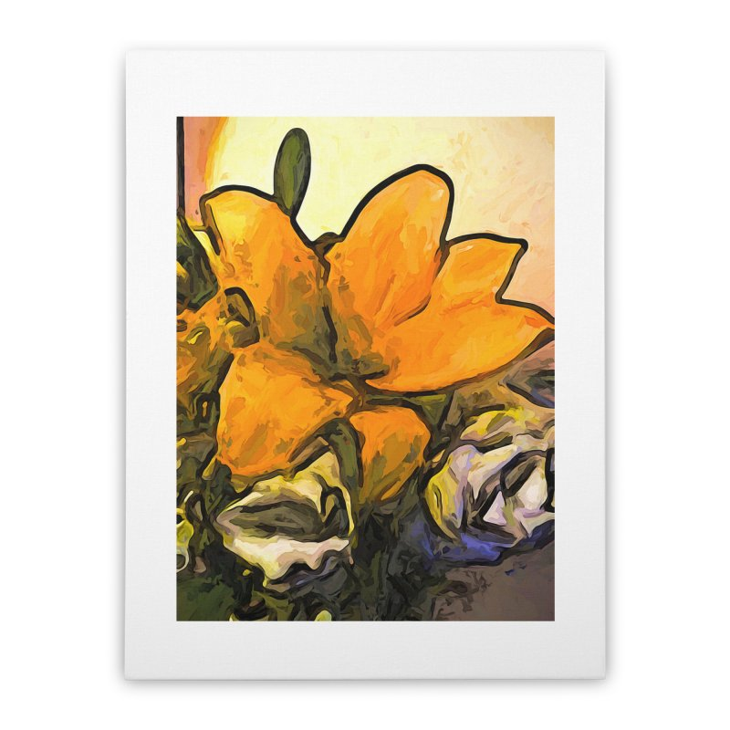 The Big Gold Flower and the White Roses Home Stretched Canvas by jackievano's Artist Shop