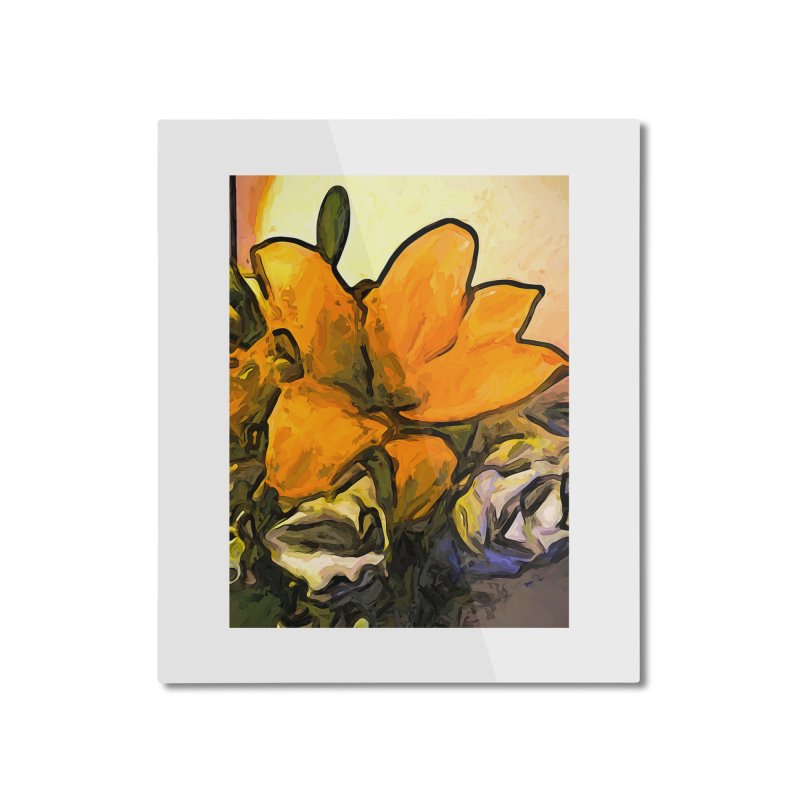 The Big Gold Flower and the White Roses Home Mounted Aluminum Print by jackievano's Artist Shop