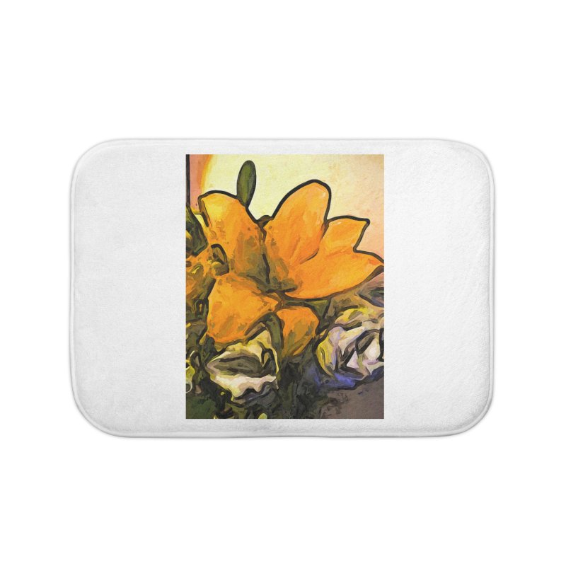 The Big Gold Flower and the White Roses Home Bath Mat by jackievano's Artist Shop