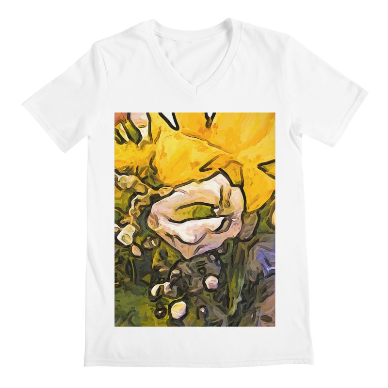 The White Rose with the Eye and Gold Petals Men's V-Neck by jackievano's Artist Shop