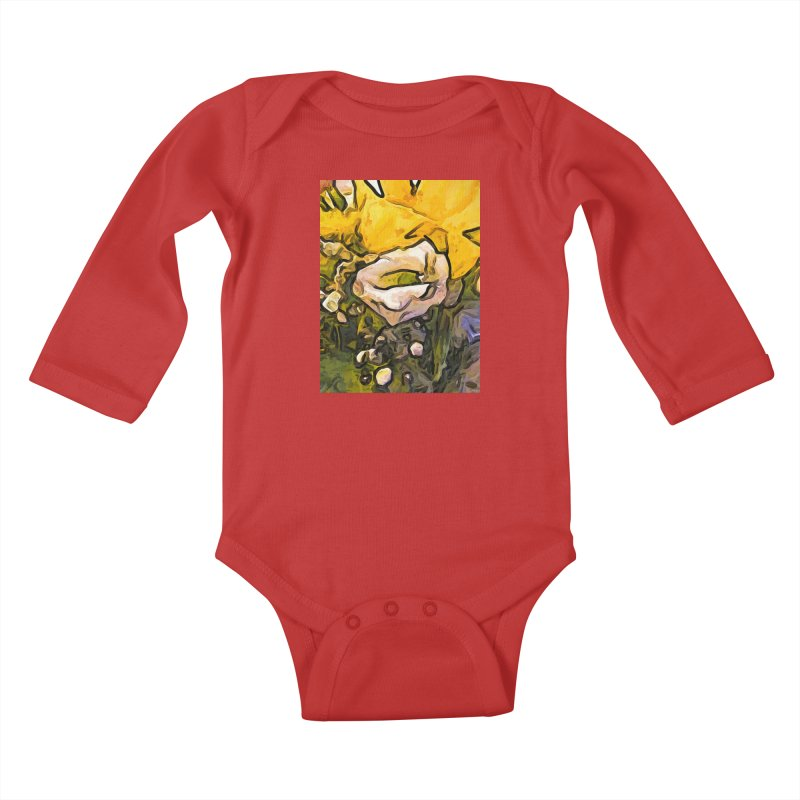The White Rose with the Eye and Gold Petals Kids Baby Longsleeve Bodysuit by jackievano's Artist Shop