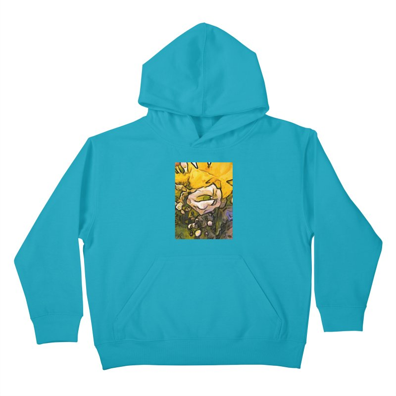 The White Rose with the Eye and Gold Petals Kids Pullover Hoody by jackievano's Artist Shop