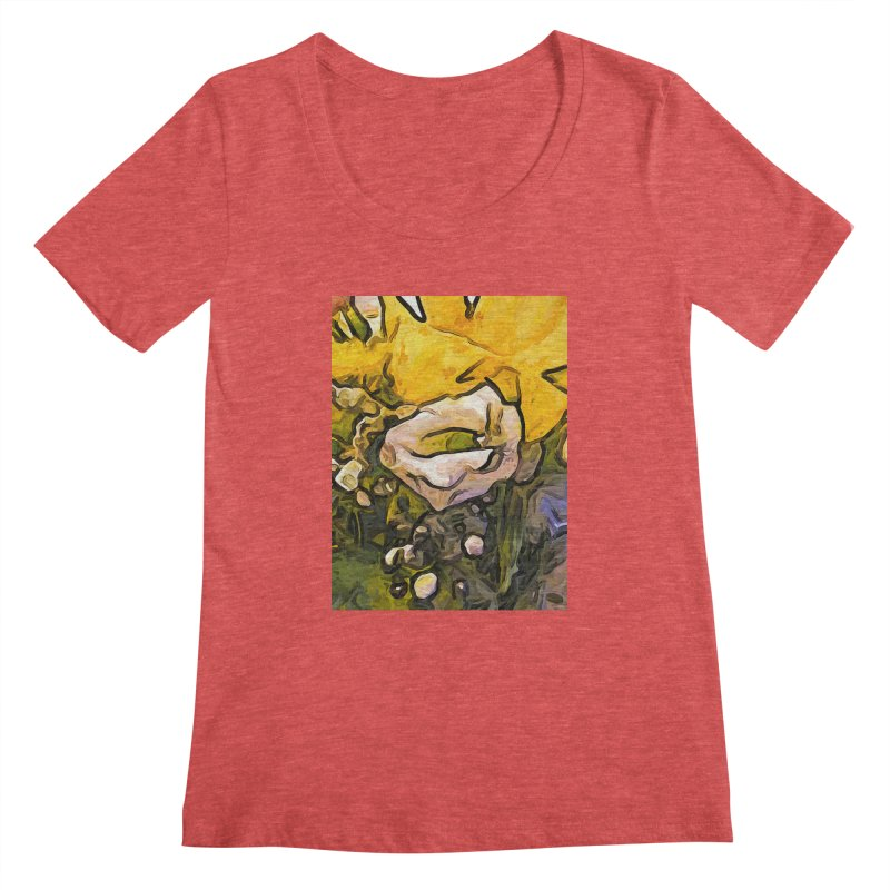 The White Rose with the Eye and Gold Petals Women's Scoopneck by jackievano's Artist Shop
