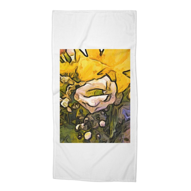 The White Rose with the Eye and Gold Petals Accessories Beach Towel by jackievano's Artist Shop