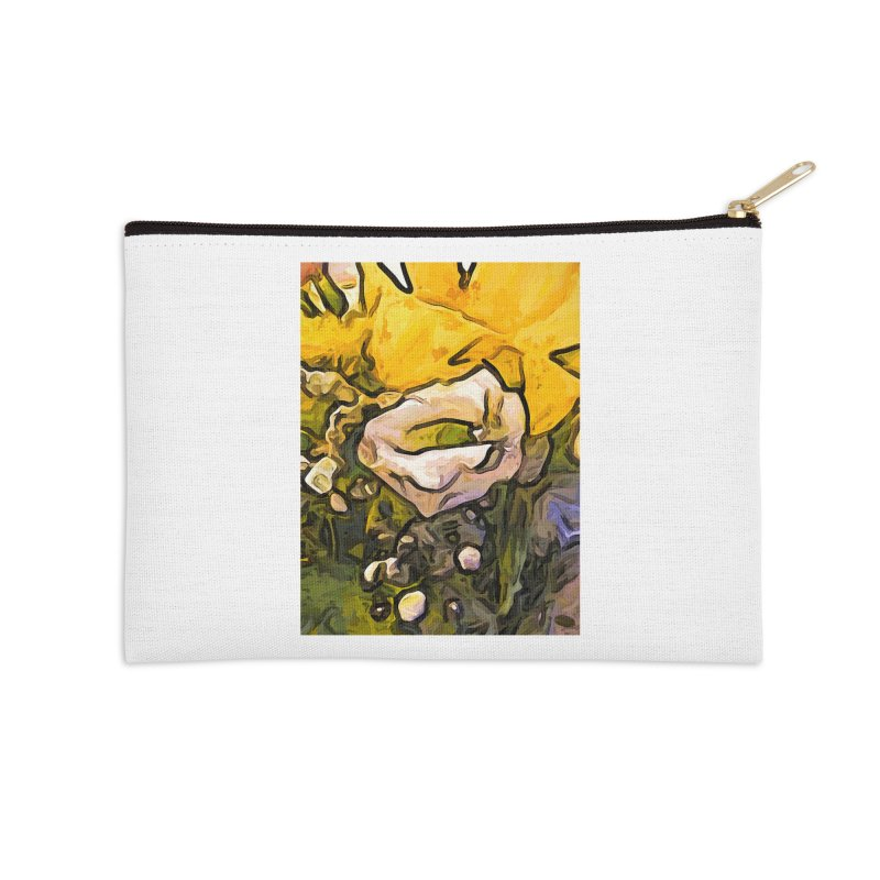 The White Rose with the Eye and Gold Petals Accessories Zip Pouch by jackievano's Artist Shop