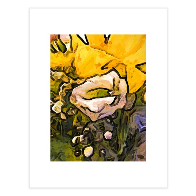 The White Rose with the Eye and Gold Petals Home Fine Art Print by jackievano's Artist Shop