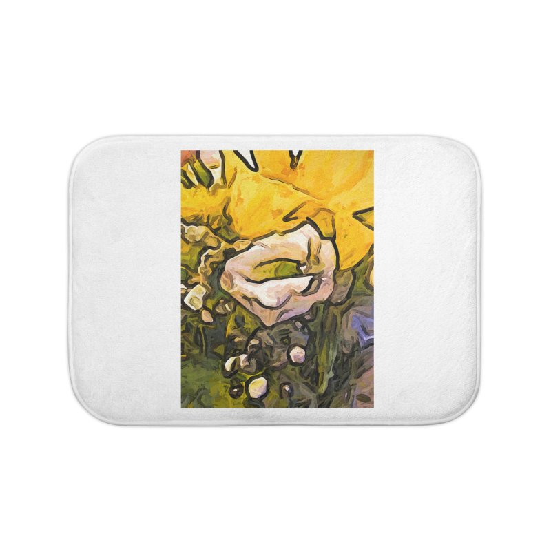 The White Rose with the Eye and Gold Petals Home Bath Mat by jackievano's Artist Shop