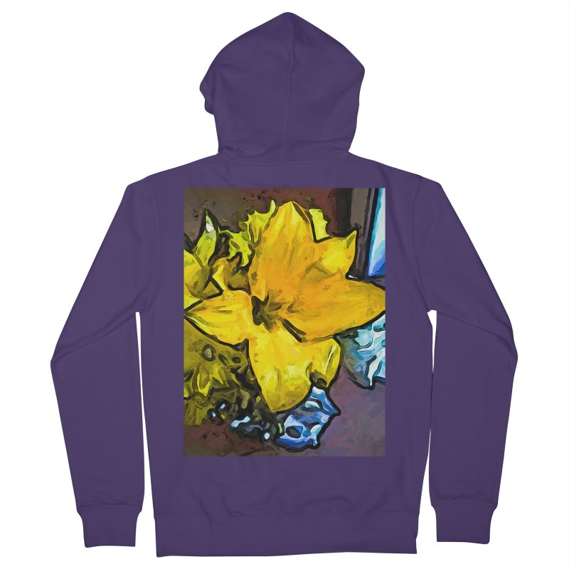 The Big Yellow Flower above the Blue Flowers Women's Zip-Up Hoody by jackievano's Artist Shop