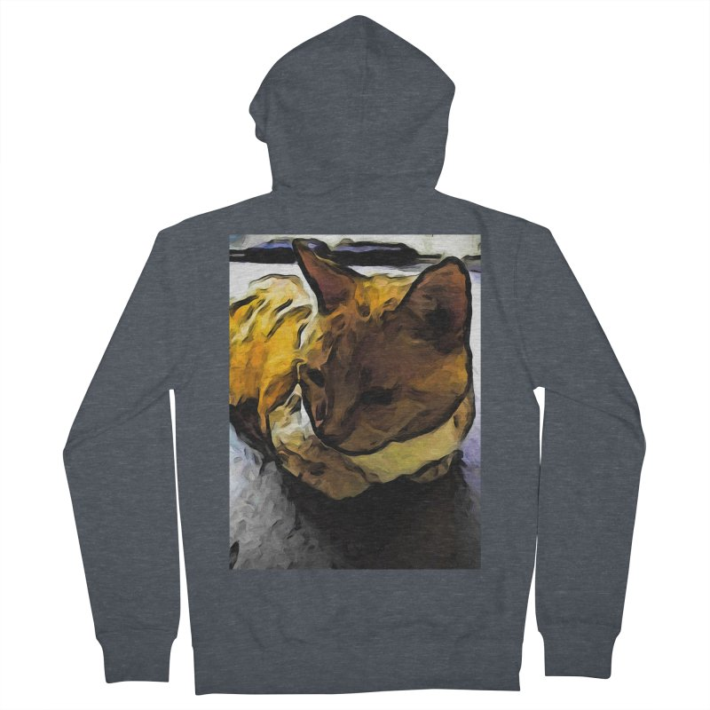 The Sleeping Gold Cat with the Dark Shadow Women's Zip-Up Hoody by jackievano's Artist Shop