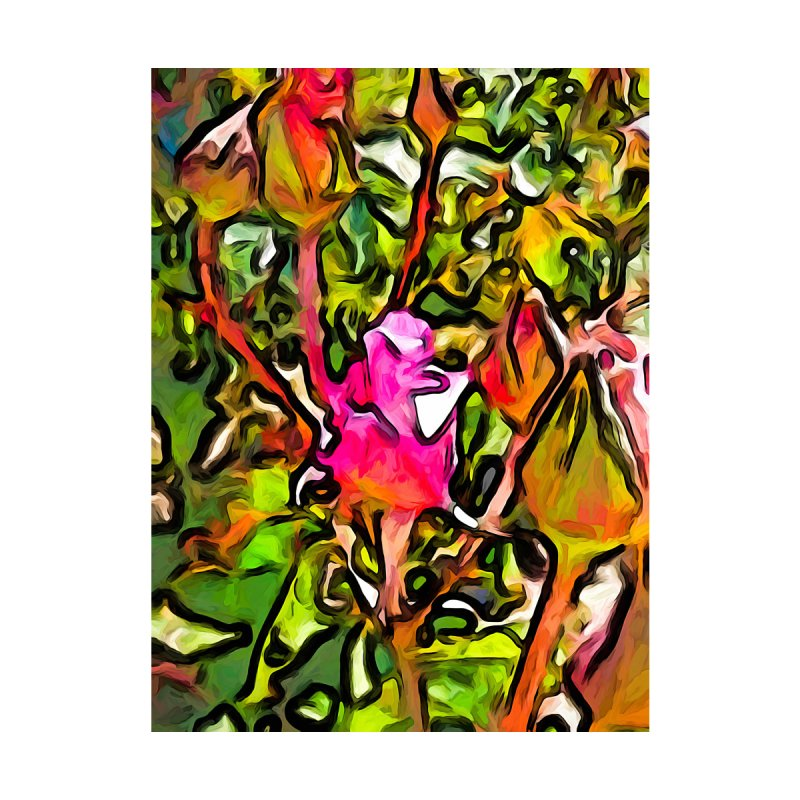 The Hot Pink Rosebud with the Green Leaves by jackievano's Artist Shop