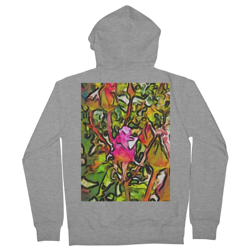 The Hot Pink Rosebud with the Green Leaves Women's Zip-Up Hoody by jackievano's Artist Shop