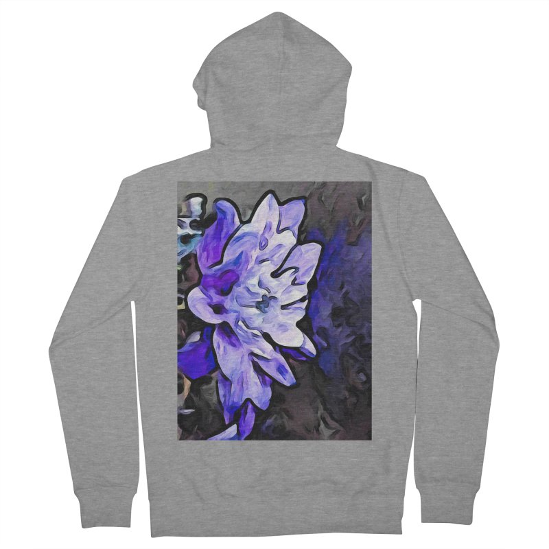 The Lavender Flower with the Cobalt Blue Edges Women's Zip-Up Hoody by jackievano's Artist Shop