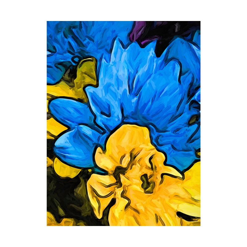 The Embrace of the Blue and Yellow Flowers by jackievano's Artist Shop