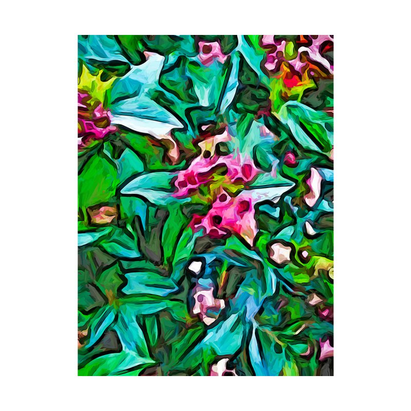 The Pink Flower Buds with the Turquoise Leaves by jackievano's Artist Shop