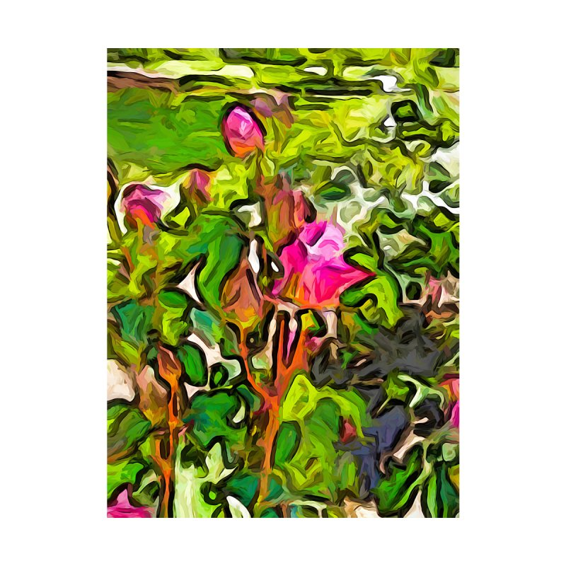 The Pink Rosebuds in the Sea of Green Leaves by jackievano's Artist Shop