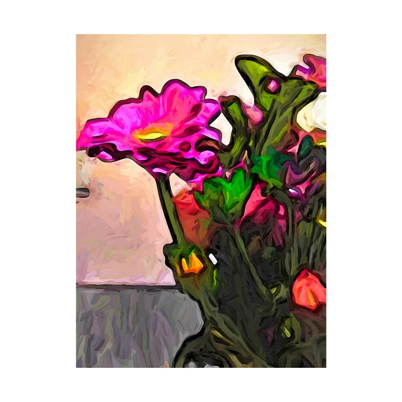 The Pink and Yellow Flower with the Green Flower by jackievano's Artist Shop