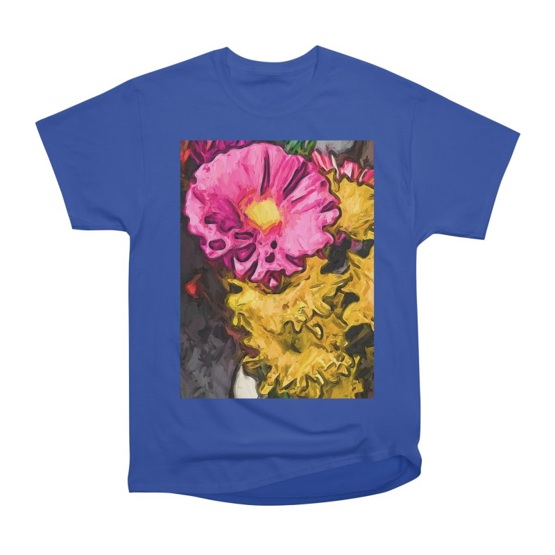 The Leaning Flowers of Pink and Yellow Women's Heavyweight Unisex T-Shirt by jackievano's Artist Shop