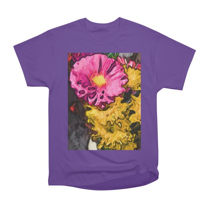 The Leaning Flowers of Pink and Yellow Men's Heavyweight T-Shirt by jackievano's Artist Shop