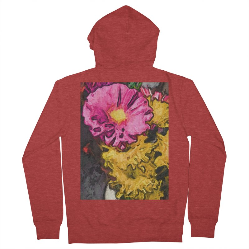 The Leaning Flowers of Pink and Yellow Men's Zip-Up Hoody by jackievano's Artist Shop