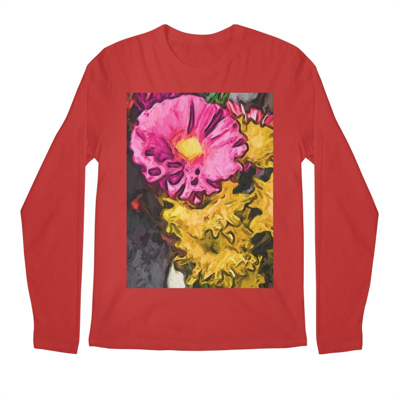 The Leaning Flowers of Pink and Yellow Men's Longsleeve T-Shirt by jackievano's Artist Shop