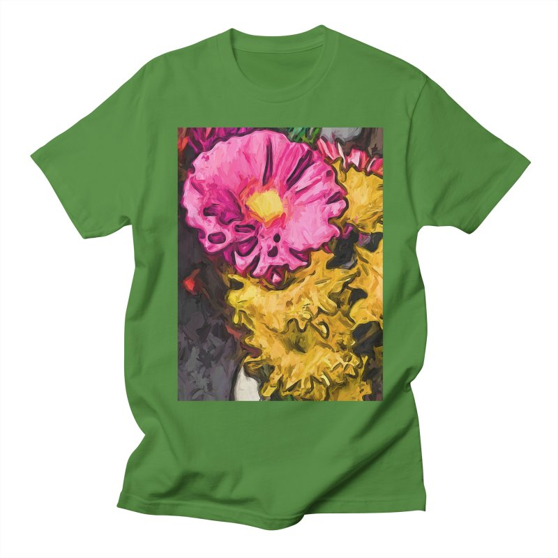The Leaning Flowers of Pink and Yellow Men's T-Shirt by jackievano's Artist Shop