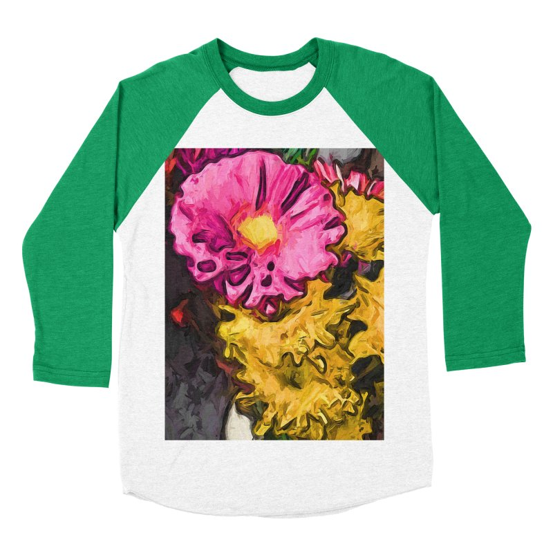 The Leaning Flowers of Pink and Yellow Men's Baseball Triblend T-Shirt by jackievano's Artist Shop