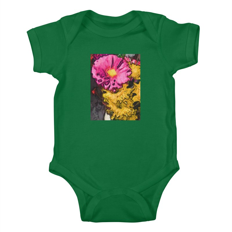 The Leaning Flowers of Pink and Yellow Kids Baby Bodysuit by jackievano's Artist Shop